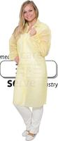 care&serve-Einweg-Vlies-Kittel, Einmal-Mantel, Klettverschlüsse, ohne Taschen, Polybeutel, 30 g/m², 145 x 115 cm, VE: 50 Stück, gelb