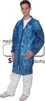 care&serve-Einweg-Vlies-Kittel, Einmal-Mantel, Klettverschlüsse, ohne Taschen, Polybeutel, 30 g/m², 140 x 110 cm, VE: 50 Stück, dunkelbl