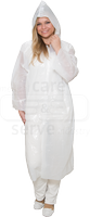 care&serve-Einweg-PE-Kittel, Einmal-Mantel, Kapuze, glatt, Polybeutel, 150 x 120 cm, VE: 500 Stück, weiß