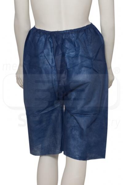 WIROS-Einweg-Vlies Koloskopie Hose (Shorts), überlappende Öffnung hinten, 40 g/m², 150 x 65 cm, Polybeutel, Pkg á 10 Stück, VE: 100 Stück, dunkelblau