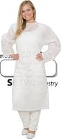 care&serve-Hygiene, Einweg-Vlies Patienten-Hemd, Bänder im Nacken, 45 g/m², Polybeutel, 150 x 120 cm, VE: 50 Stück, weiß
