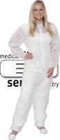 care&serve-Einweg-Vlies-Overall, Einmal-Schutz-Anzug, Kragen, Reißverschluss mit Abdeckung, Gummizüge, Polybeutel, 32 g/m², 130 x
