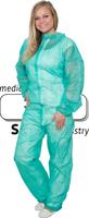 care&serve-Einweg-Vlies-Overall, Einmal-Schutz-Anzug, Kragen, Reißverschluss mit Abdeckung, Gummizüge, Polybeutel, 32 g/m², 140 x