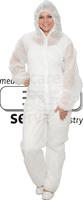 care&serve-Einweg-Vlies-Overall, Einmal-Schutz-Anzug, Kapuze, Reißverschluss mit Abdeckung, Gummizüge, Polybeutel, 32 g/m², 158 x