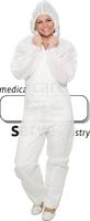 care&serve-Einweg-Vlies-Overall, Einmal-Schutz-Anzug, Kapuze, Reißverschluss mit Abdeckung, Gummizüge, extra stark, Polybeutel, 45