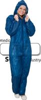 care&serve-Einweg-Vlies-Overall, Einmal-Schutz-Anzug,, Kapuze, Reißverschluss mit Abdeckung, Gummizüge, extra stark, Polybeutel, 45