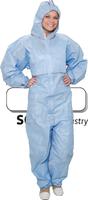 care&serve-Einweg-Overall, Chemikalien-Einmal-Schutz-Anzug, SMMS, Kapuze, Kat. III, Typ 5 + 6, antistatisch, 55 g/m², 140 x