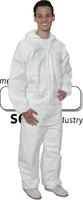 care&serve-Einweg-Overall, Chemikalien-Einmal-Schutz-Anzug, Micro Porous, Kapuze, Kat. III, Typ 5 + 6, antistatisch, 60 g/m