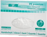 care&serve--Einweg-PE-Einmal-Handschuhe, gehämmert, Spenderbox Öffnung unten, 0,018 mm, Pkg á 100 Stück, VE: 10000 Stück, transparent
