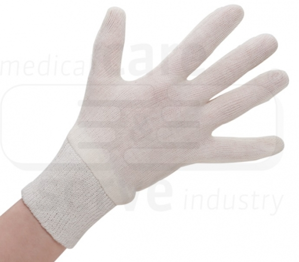 WIROS-Baumwoll Handschuhe, Strickbündchen, mittelstrick, Polybeutel, Pkg. á 12 Paar, VE: 600 Paar, beige