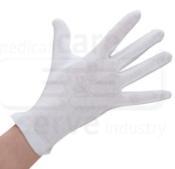 WIROS-Baumwoll Trikot Handschuhe, feinstrick, Schichtel, Polybeutel, Pkg. á 12 Paar, VE: 600 Paar, weiß