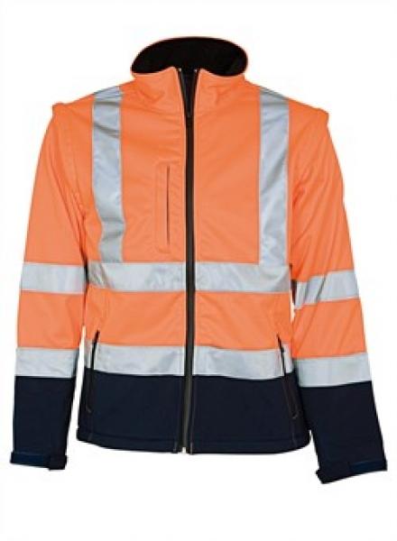 ELKA Warn-Schutz-Arbeits-Berufs-Jacke Soft Shell EN 471, warnorange/marine
