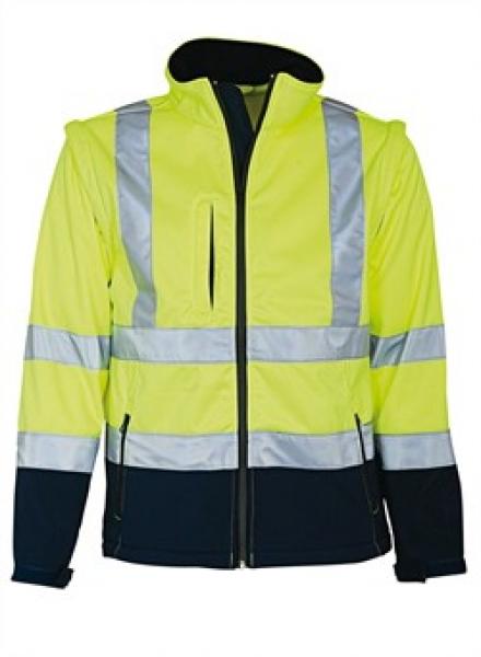 ELKA Warn-Schutz-Arbeits-Berufs-Jacke Soft Shell EN 471, warngelb/marine