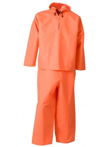 ELKA-Regen-Nässe-Wetter-Schutz-Schlupf-Jacke mit Latzhose, PVC LIGHT, 320g/m², orange