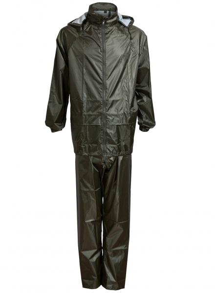 ELKA-Regen-Nässe-Wetter-Schutz-Jacke und Hose, Regenset im Beutel, OUTDOOR, oliv