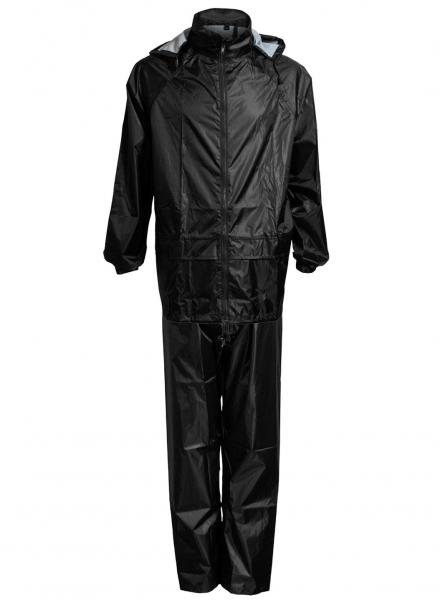 ELKA-Regen-Nässe-Wetter-Schutz-Jacke und Hose, Regen-Set im Beutel, OUTDOOR, schwarz