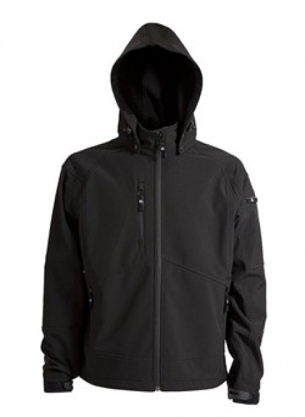 ELKA Softshell-Arbeits-Berufs-Jacke, mit Kapuze, schwarz