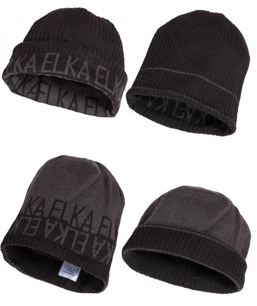 ELKA-Winter-Strick-Mütze, OUTDOOR, dunkelgrau/schwarz