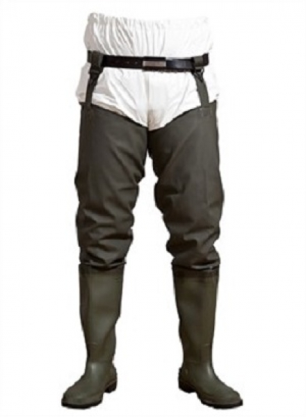 ELKA-Wathose, PVC/Polyester, mit Dunlop-Stiefel, oliv-grün