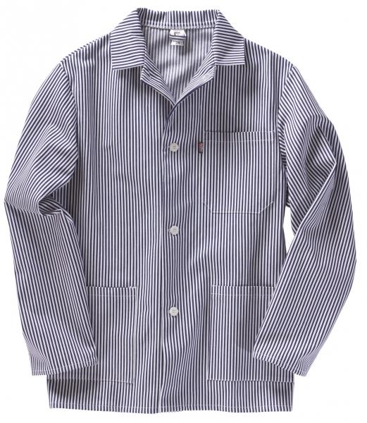 BEB-Fleischer-Food-Arbeits-Berufs-Jacke, HACCP-Hygiene-Bekleidung,  weiß/blau