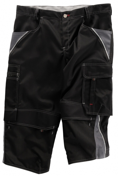 BEB-Piratenhose, Arbeits-Berufs-Shorts, Inflame, 245 g/m², schwarz/grau