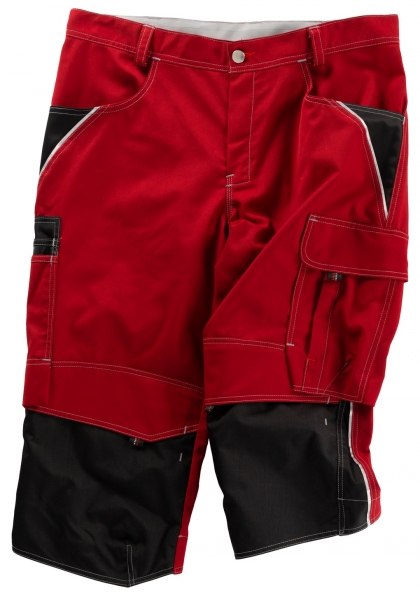BEB-Piratenhose, Arbeits-Berufs-Shorts, Inflame, 245 g/m², fire engine red/schwarz