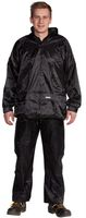 OCEAN-Regen-Schutz-Anzug, Jacke mit Reißverschluss, Hose mit Gummizug, schwarz