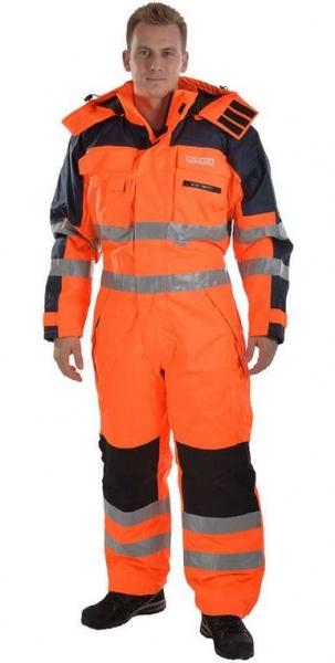 OCEAN-Warnschutz-Thermo-Overall, Klasse 3, 3M Reflexstreifen, orange/marine