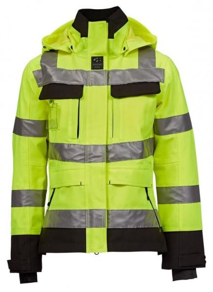 OCEAN-Abeko-Damen-Warnschutz-Regen-Jacke, Abo Stretch, leuchtgelb/schwarz