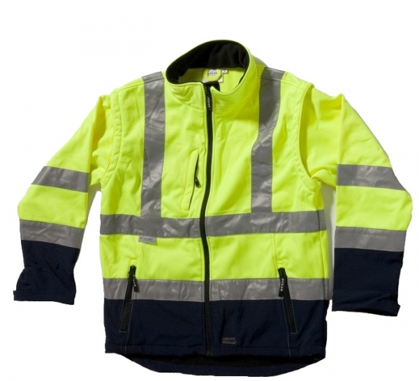 OCEAN-Warnschutz-Soft-Shell Jacke, Fleece-Jacke, 3M Reflexstreifen, gelb/marine