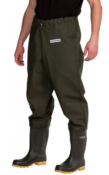 OCEAN Hüftwathose de Luxe, Work & Tackle Waders, dunkles oliv