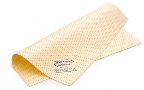MEGA CLEAN-Microfaser-Putz-Tücher,  Mikrofaser-Kunstleder-Tuch, gelocht, das vegane MEGA Powertuch, gelb