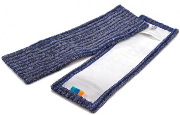 MEGA CLEAN-Wisch-Mopps-Pads, Mikrofaser-Mop, Borstenmop, 40 cm, blau/grau