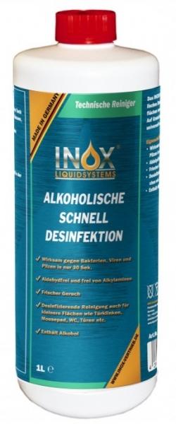Händedesinfektion-INOX Alkoholische Schnelldesinfektion für Hände und Oberfläche mit Sprühkopf, 1000ml