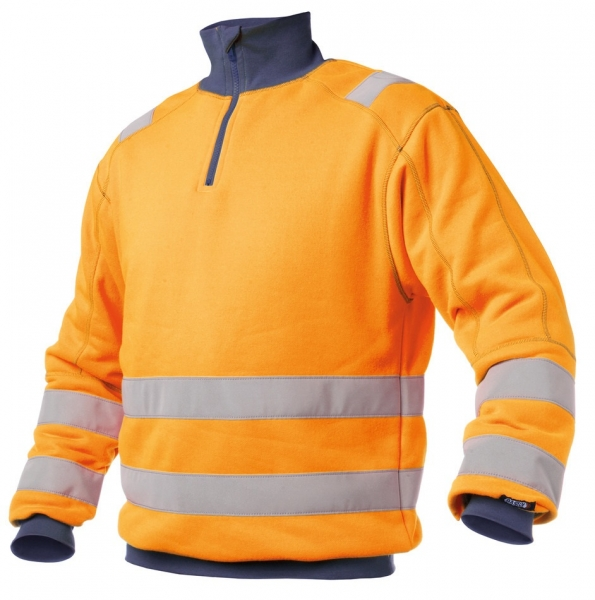 DASSY-Warnschutz-Sweater DENVER , orange/dunkelblau