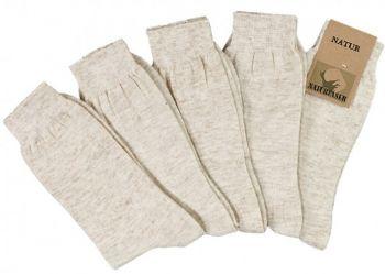 WOWERAT-Socken mit Leinen, Pkg.á 5 Paar, natur meliert