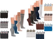 WOWERAT-Gesundheits-Arbeits-Berufs-Socken, Baumwolle, Pkg. á 3 Paar, dunkelbraun, camel, mittelbraun
