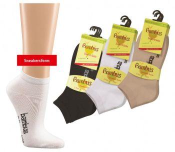 WOWERAT-Sneakerssocken, Bambus, 3-er Pkg., weiß