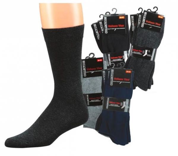 WOWERAT-Wellness-Herren-Arbeits-Berufs-Socken, Komfort, Pkg. á 3 Paar, grau