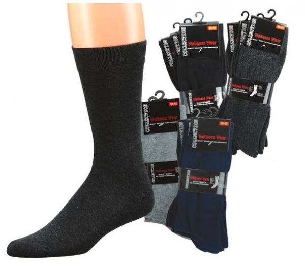 WOWERAT-Wellness-Herren-Arbeits-Berufs-Socken, Komfort, Pkg. á 3 Paar, marine