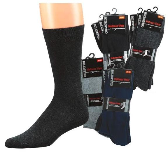 WOWERAT-Wellness-Herren-Arbeits-Berufs-Socken, Komfort, Pkg. á 3 Paar, schwarz