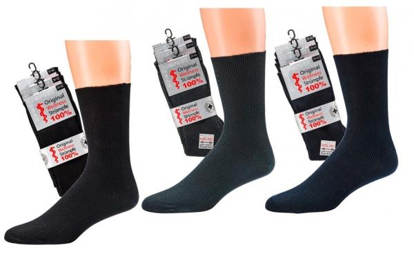 WOWERAT-Herren-Wellness-Socken, 100 % Baumwolle, 1/1-Rippe, 3-er Pkg, marine