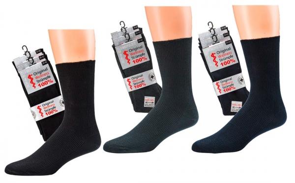 WOWERAT-Herren-Wellness-Socken, 100 % Baumwolle, 1/1-Rippe, 3-er Pkg, schwarz