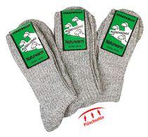 WOWERAT-Plüschsohle-Socken mit Schafwolle, 6-er Teilung für Damen und Herren, 3-er Pkg., graumeliert