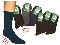 WOWERAT-Plüschsohle-Socken mit Schafwolle, 6-er Teilung für Damen und Herren, 3-er Pkg., farbig sortiert