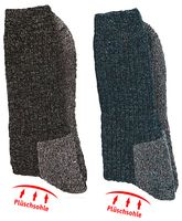 WOWERAT-Funktionssocken, mit Schafwolle, mit Plüschsohle, 6-er Teilung, 2-er Pkg., grau/schwarz/blau-mouliné-farbig
