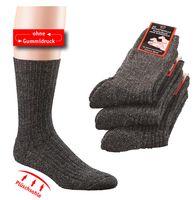 WOWERAT-Plüschsohle-Socken, mit Schafwolle, 6-er Teilung, 3-er Pkg., grau/schwarz