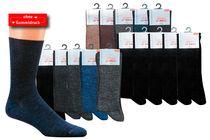 WOWERAT-Herren-Wellness-Socken, mit Schafwolle, ohne Gummidruck, 1/1-Rippe, 5-er Pkg., schwarz