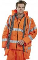 SSP-Warn-Schutz-Arbeits-Berufs-Jacke, 4 in 1 Jacke High Visibility, orange