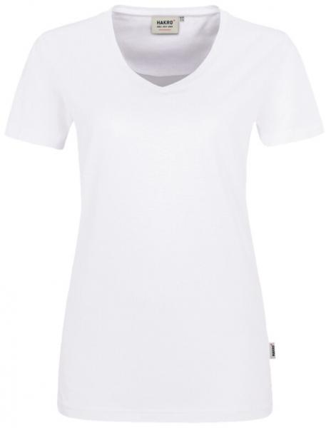 HAKRO-Damen-T-Shirt, Women-Arbeits-Berufs-Shirt, V-Ausschnitt Performance, weiß